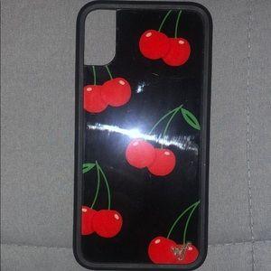 iPhone X /Xs black cherry wildflower case
